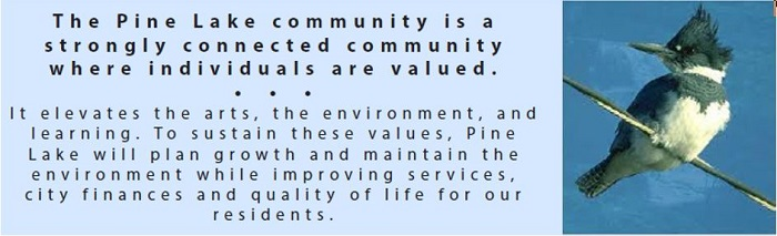 The Pine Lake community is a strongly connected community where individuals are valued. It elevates the arts, the environment, and learning. To sustain these values, Pine Lake will plan growth and maintain the environment while improving services, city finances and quality of live for our residents